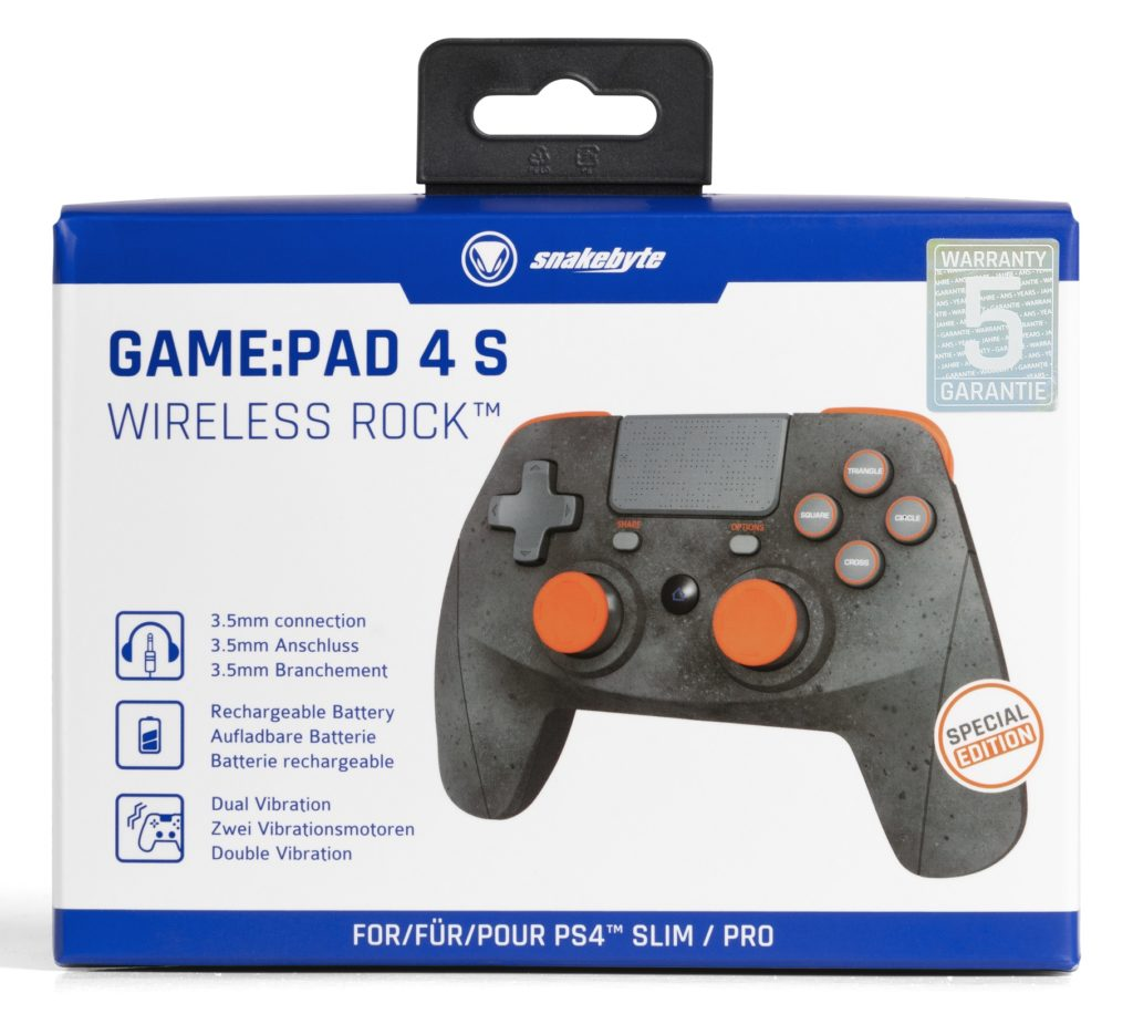 snakebyte PS4 Game Pad 4 S wireless Rock™ Packaging